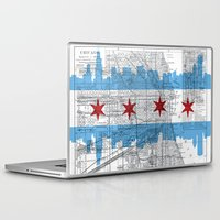 chicago map Laptop & iPad Skins featuring Chicago Map  by Kasi Turpin