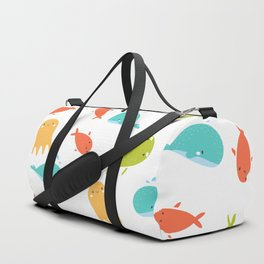 Cute Sea Life, Colorful Fishes and Waves Design Pattern, Cute Kids Art Duffle Bag