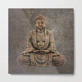 Sitting Buddha On Distressed Metal Background Metal Print