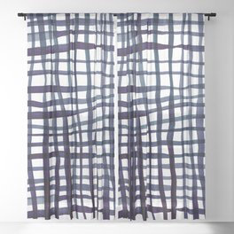 Watercolor doodle gingham - indigo Sheer Curtain