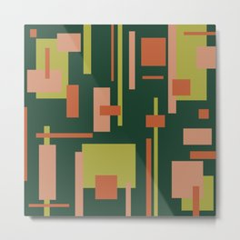 Cityscape Mid-Century Modern Abstract in Coral and Green Metal Print