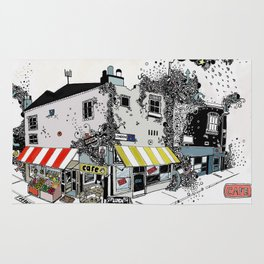 Street view pen drawing London illustration Rug