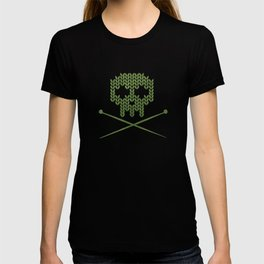 Knitted Skull - White on Olive Green T-shirt