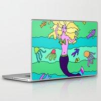 mermaid Laptop & iPad Skins featuring Mermaid by Linda Tomei