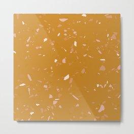 Mustard Terrazzo / Cosy Autumn Texture Metal Print