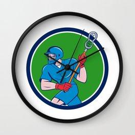 Lacrosse Player Crosse Stick Running Circle Cartoon Wall Clock