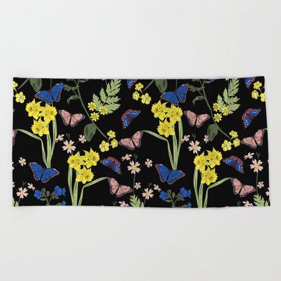 Botanical floral print Beach Towel