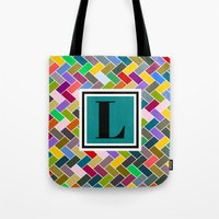 monogram Tote Bags featuring L Monogram by mailboxdisco