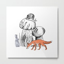 Fantastic forest with mushrooms, snail, rabbit and fox Metal Print