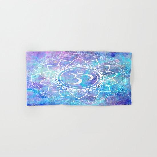 Om Mandala Pink Aqua Lavender Galaxy Space Hand & Bath Towel