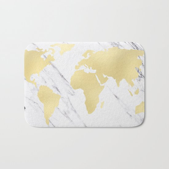 World Map Marble Gold Rush Bath Mat
