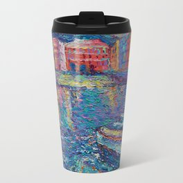 Sunset in Port of Vernazza - modern palette knife sea landscape of Italy by Adriana Dziuba Travel Mug