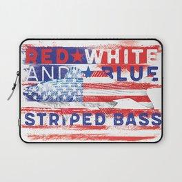 Fishing American Flag Striped Bass Tee Laptop Sleeve