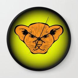 lion cub drawn. lion cub drawn from human gaze Wall Clock