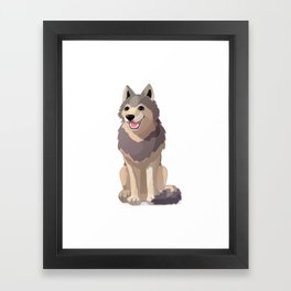 Happy gray wolf. Vector graphic character Framed Art Print