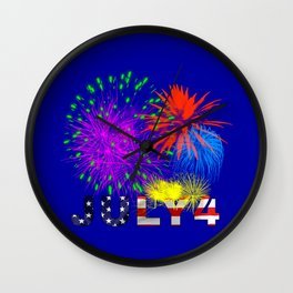 America 4th of July Fireworks Wall Clock