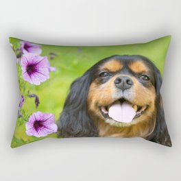 Cavalier King charles With Pruple Pansies  Rectangular Pillow