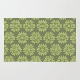 Army Green Flowers Rug