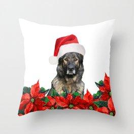 German Shephard Dog - Poinsettia Christmas Flowers Throw Pillow