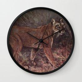 Vintage Puma Painting (1909) Wall Clock