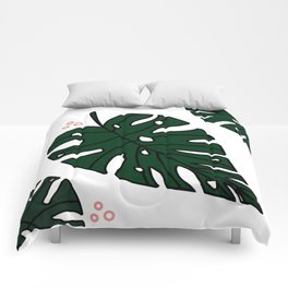 Green Monstera Comforters