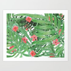 Ferns and red flowers Art Print