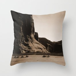 Canyon de Chelly - Chinle, Arizona – Navajo Indians on Horseback by Edward Curtis Throw Pillow