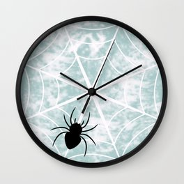 Spiderweb on a cloudy day Wall Clock