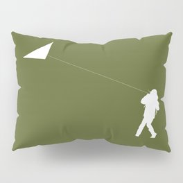 Little Girl with a Kite in Pine Green Pillow Sham