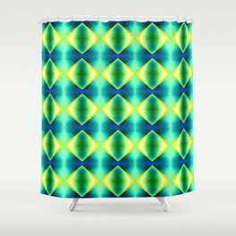 Green Blue Metallic Diamond Harlequin Pattern Shower Curtain