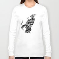 nordic Long Sleeve T-shirts featuring Nordic Raven by Jeremy Buckley illustration