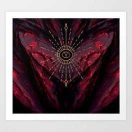 Scarlet Heart Mineral Eye Art Print