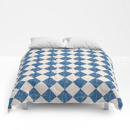 Rustic Checkerboard in Blue and Cream Comforters
