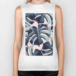 Tropical Monstera Leaves Dream #3 #tropical #decor #art #society6 Biker Tank