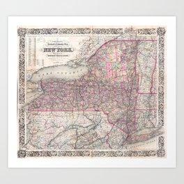 Vintage New York State Railroad Map (1876) Art Print