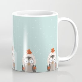 Owl Under Snow in the Christmas Time. Coffee Mug