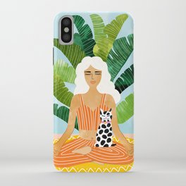 Meditation With Thy Cat #illustration #painting iPhone Case