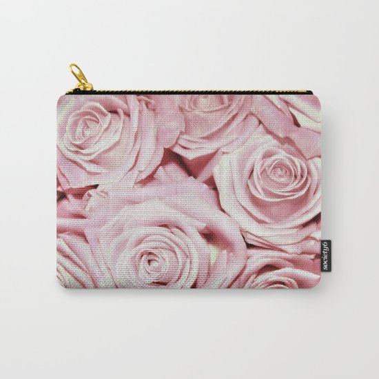 Beautiful bed of pink roses- Floral Rose Flowers Carry-All Pouch