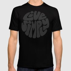 Live Simply LARGE Black Mens Fitted Tee