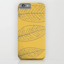 Autumn Leaves, Warm Gray on Yellow (Set of 3) iPhone Case