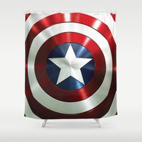 steve rogers Shower Curtains featuring Captain Steve Rogers Shields  by neutrone