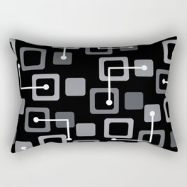 Midcentury 1950s Tiles & Squares Black Rectangular Pillow
