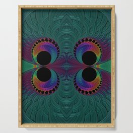 Peacock Feathers Eyes Fractal Abstract Serving Tray