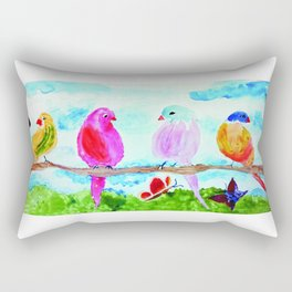 Birds and Butterflies Rectangular Pillow