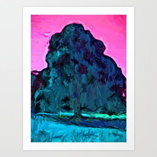 Peacock Tree and Pink Sky Art Print