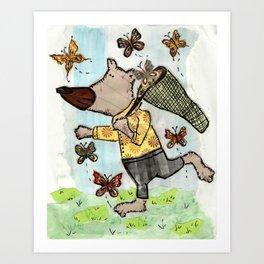 Bear catching a butterfly Art Print