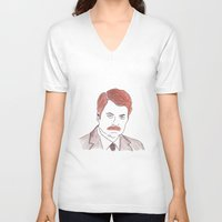 ron swanson V-neck T-shirts featuring Ron Swanson  by nicoleskine