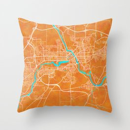 Sherbrooke, QC, Canada, Gold, Blue, City, Map Throw Pillow