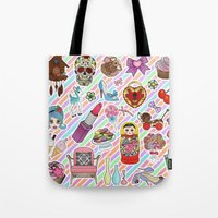 stickers Tote Bags featuring I Love Stickers by Jade Boylan