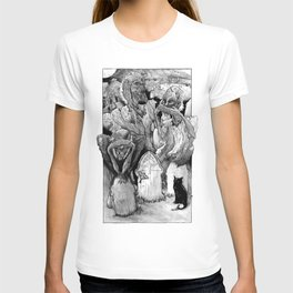 Three Wise Zombies Grayscale T-shirt
